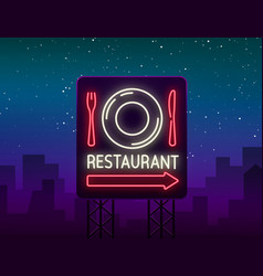 restaurant logo sign emblem in neon style vector image