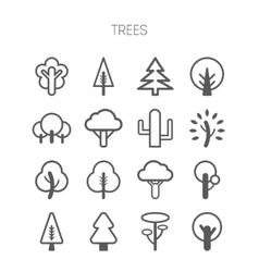Set of simple monochromatic tree icons vector image