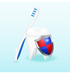 Tooth with a shield and a toothbrush vector image