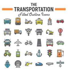 transportation filled outline icon set transport vector image
