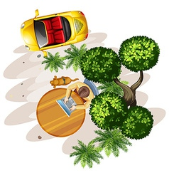 A topview of a table with a man a tree and a vector image vector image