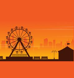 amusement park landscape at sunset vector image vector image