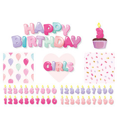 birthday design elements set for girls included vector image vector image