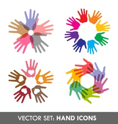 Collection of hand icons vector