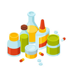 different bottles with pills and drugs vector image