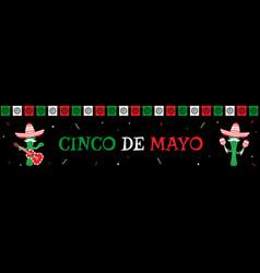 funny cactus mariachi band cinco de mayo banner vector image