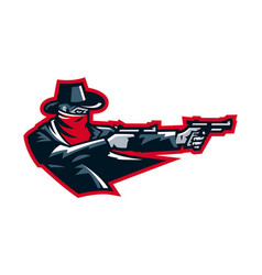 logo cowboy shooting from a revolver wild west vector image vector image