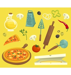 Pizza objects icons set cartoon vector