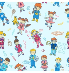 Seamless of back to school kids vector image vector image