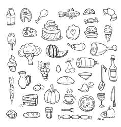 Vegetables drinks snacks fast food doodle vector image vector image