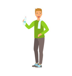 young man holding bottle of water dressed in vector image
