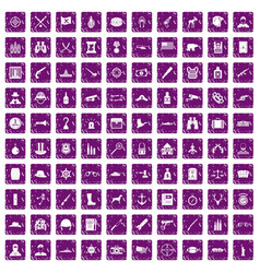 100 bullet icons set grunge purple vector image