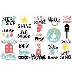 15 children s logo with handwriting little hi vector image