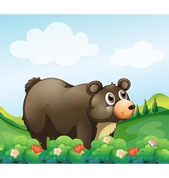 A big brown bear in the garden vector