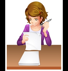 A young woman taking an exam vector image