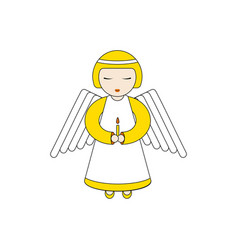 Angel character praying with a candle vector