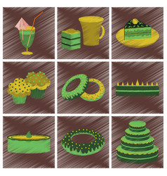 Assembly flat shading style icons desserts vector