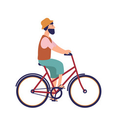 bearded hipster man in hat and casual clothes vector image