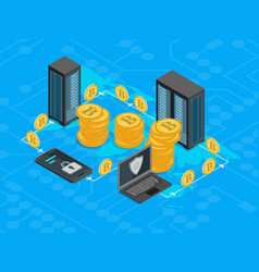 Bitcoin mining concept 3d isometric view vector