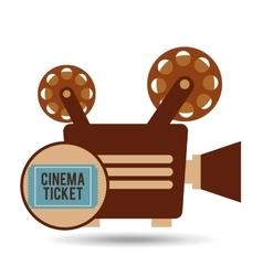 Camera movie vintage ticket icon design vector
