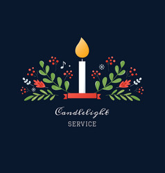 Candle and ornaments christmas eve candlelight vector