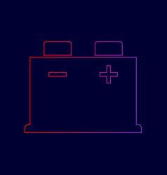 Car battery sign line icon with gradient vector