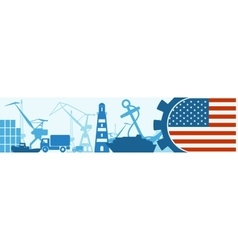 Cargo port relative icons set USA flag in gear vector