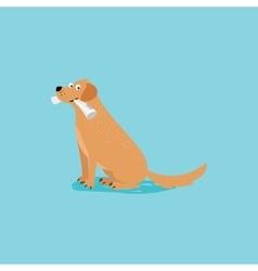 Cartoon happy dog with newspaper vector