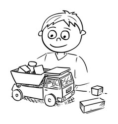 Cartoon of boy playing with toy car and wooden vector