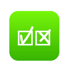 checkmark to accept and refusal icon digital green vector image