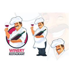 chef serving wine vector image