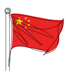 china flag one continuous line abstract icon vector image
