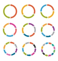 Circle arrows with options parts steps vector image