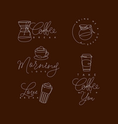 coffee pen line elements brown vector image
