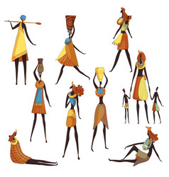 Collection cartoon african women on white vector