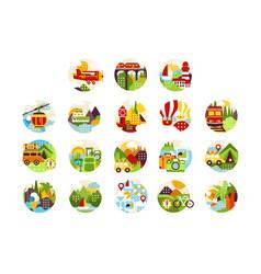 collection flat natural circle logo vector image