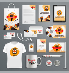 corporate identity items for sushi bar vector image