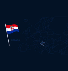 croatia on europe map high quality map europe vector image