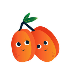 cute peaches funny fruits cartoon characters with vector image
