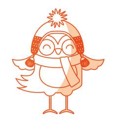 cute shadow christmas bird cartoon vector image