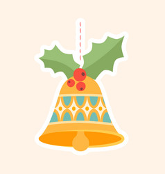 decorative christmas bell ornament with holly vector image