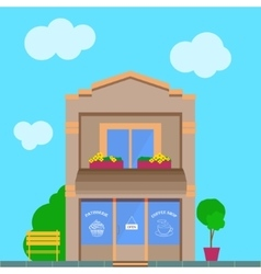 Detailed old city building with coffee shop vector