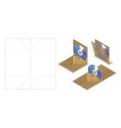 Disc envelope mockup with dieline cut vector