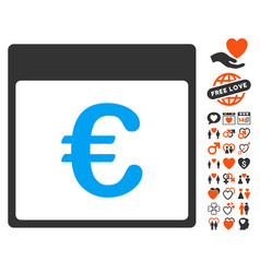 Euro currency calendar page icon with dating bonus vector