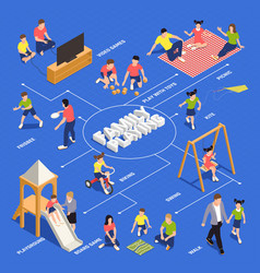 family playing isometric flowchart vector image