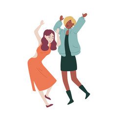 female friends dancing students party holiday vector image