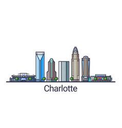 flat line charlotte banner vector image