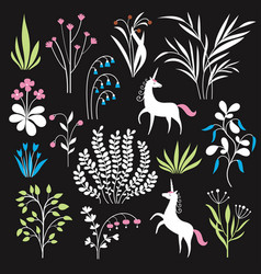 Floral set botany vector