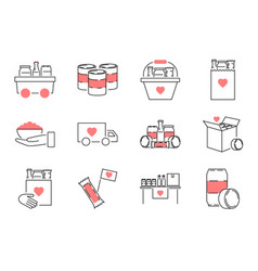 Food drive charity outline icon collection set vector