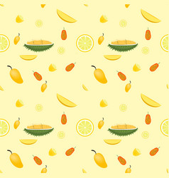 fresh fruits pattern seamless isolated on yellow vector image